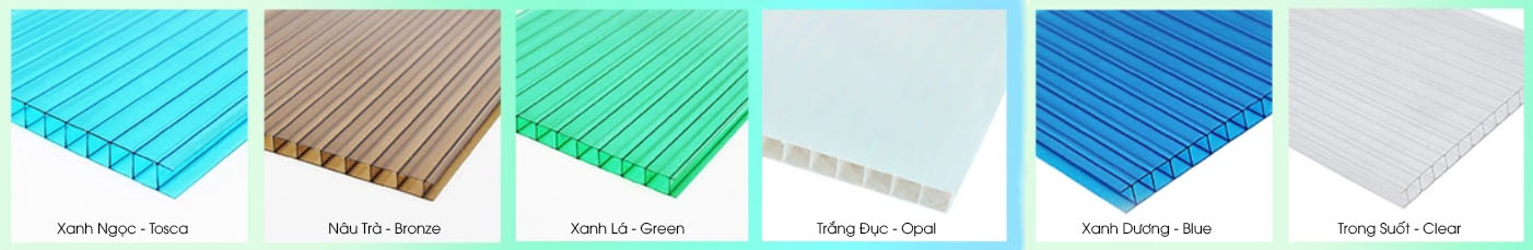 bảng màu tấm lợp lấy sáng polycarbonate rỗng ruột xlite