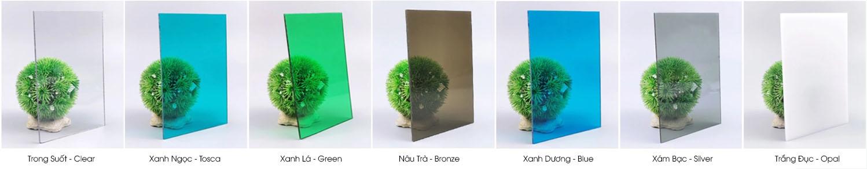 bảng màu tấm lợp lấy sáng polycarbonate đặc ruột solarflat